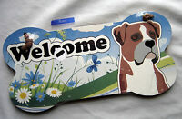 Welcome Boxer Bone Shaped Wall Sign Sealed Package