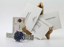 Omega Seamaster Automatic 300m Chrono Diver Stainless Date Wrist Watch Blue Face