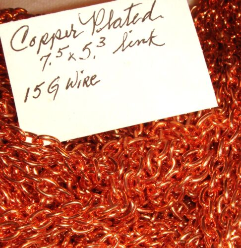 COPPER  PLATED LARGE LINK CHAIN 7.5 x 5.3 mm  15 mm gauge wire     CHAINS  10 ft