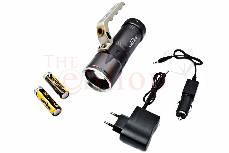 8000 Lumen 650 Meter Cree LED SMD Taschenlampe Zoom Suchlicht XML-T6 SWAT 2xAkku