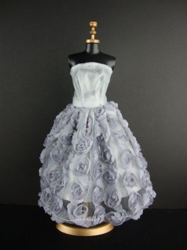 Silver Knee Length Dress Covered in Roses  For Barbie Doll