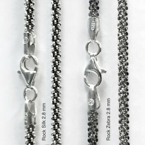 ITALY Sterling Silver ROCK Chain Necklace//Bracelet//Anklet-Zebra//B/&W//Black