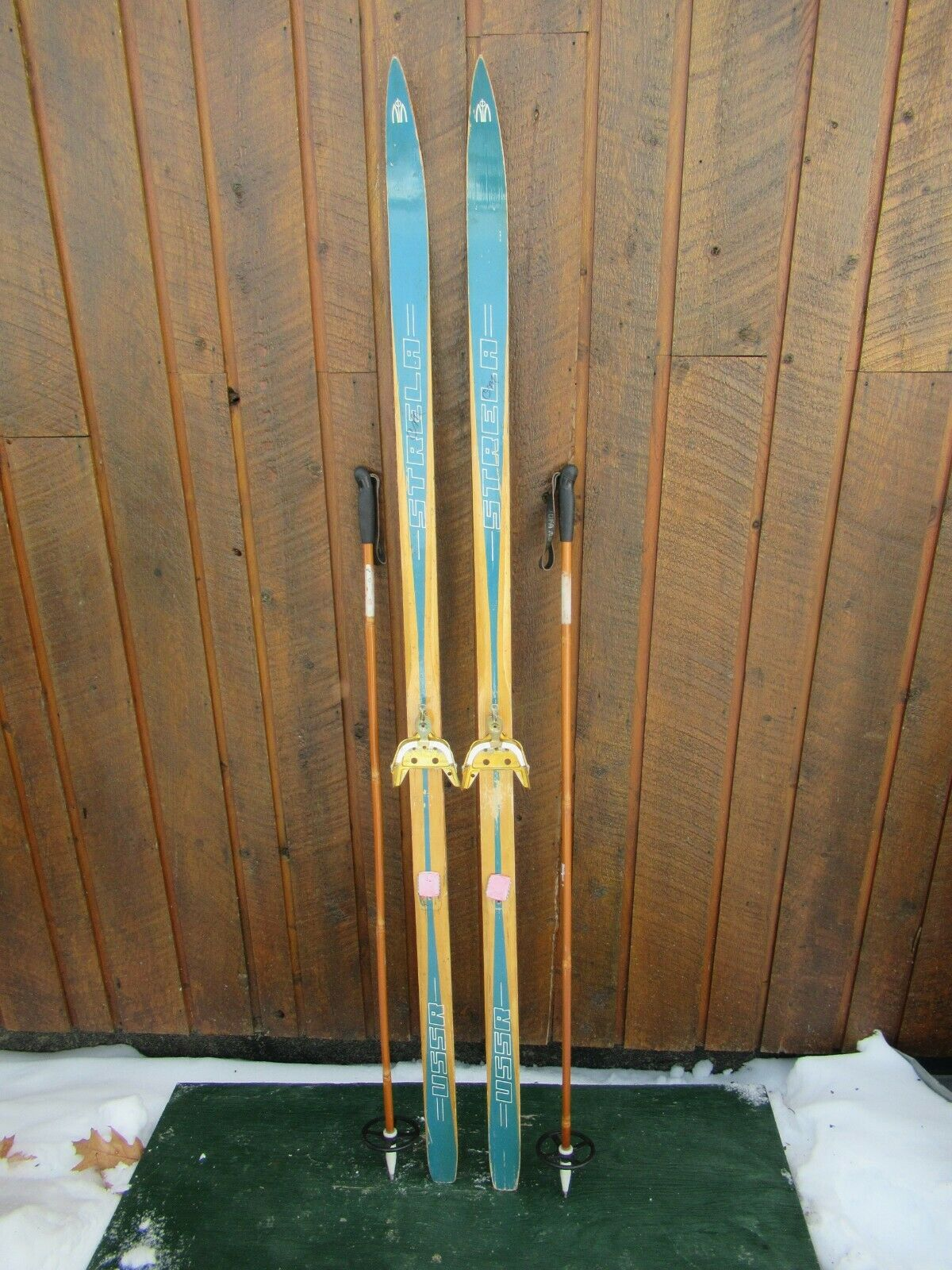 Old  Wooden 67  Long  Skis with Bamboo Poles