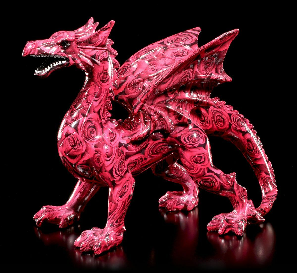 colorful Dragon Figure with pinks - Romance - Fantasy Gothic Statue Patterned