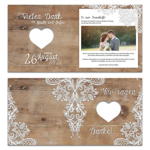 Laser intersecté mariage remerciements cartes-rustique avec dentelle blanche