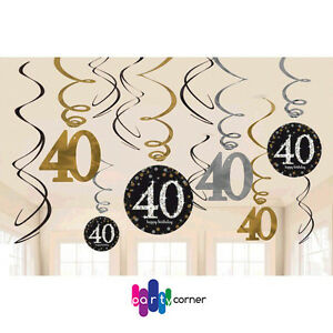 Image Is Loading 40th Birthday Party Supplies SPARKLING SWIRL DECORATIONS Pack