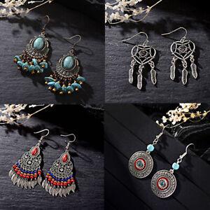Women-Round-Turquoise-Earring-Jewelry-Hook-Drop-Dangle-Leaf-Feather-Hook-Earring