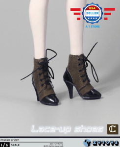 """1//6 Scale Lace Up BROWN Leather hollow Boots for 12/"""" female figure PHICEN"""