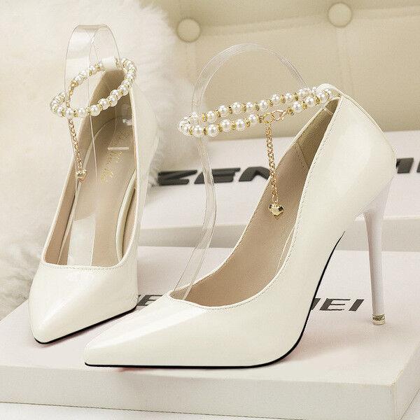 Pumps frau 10 elegant stilett elegant elegant elegant weiß glänzend simil leder 9656  | Der neueste Stil  5ed7d7