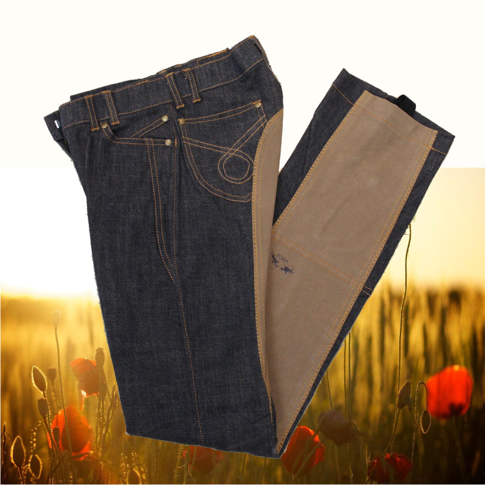 HKM Kinder Jodhpur Reithose Jeans, Jodhpurreithose, Jeans blau-braun