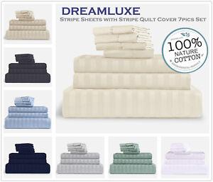 1000TC 100/% Egyptian cotton 7 pieces plain sheets /& stripe quilt cover set