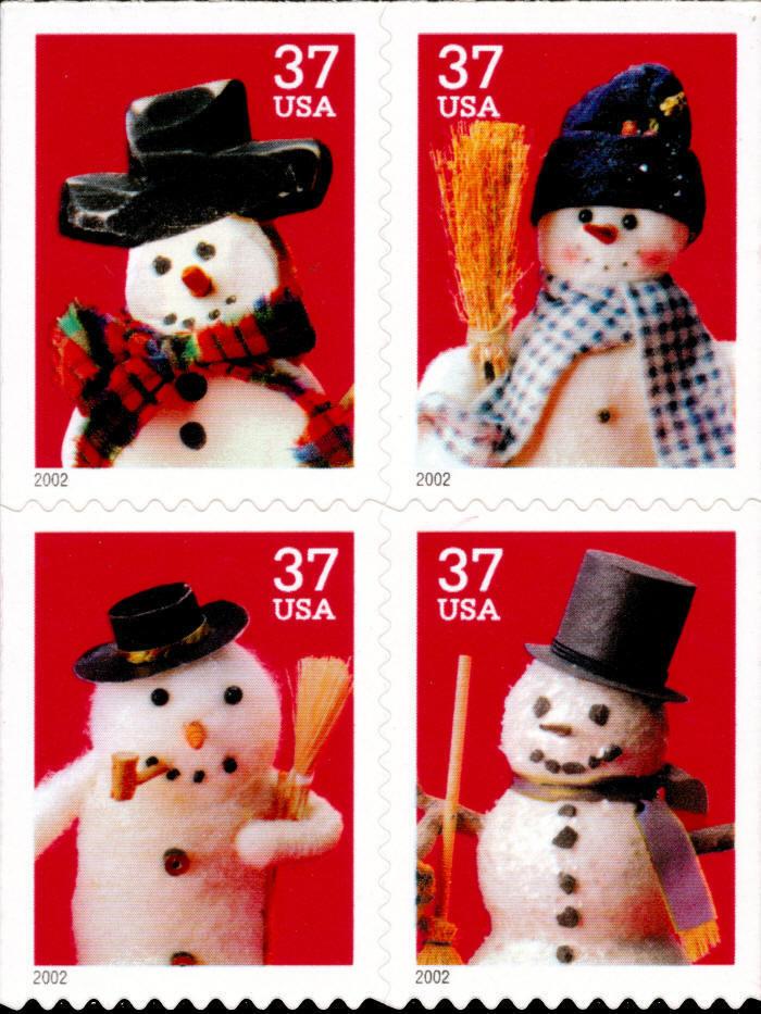 2002 37c Holiday Snowmen, Booklet Block of 4 Scott 3684