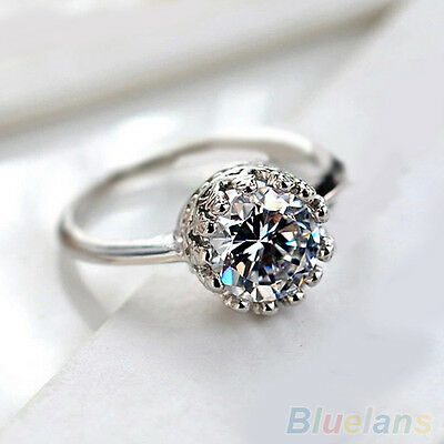 Women Bridal Pretty Nice Gothic Crown Zircon Silver Color Ring Wedding Jewelry