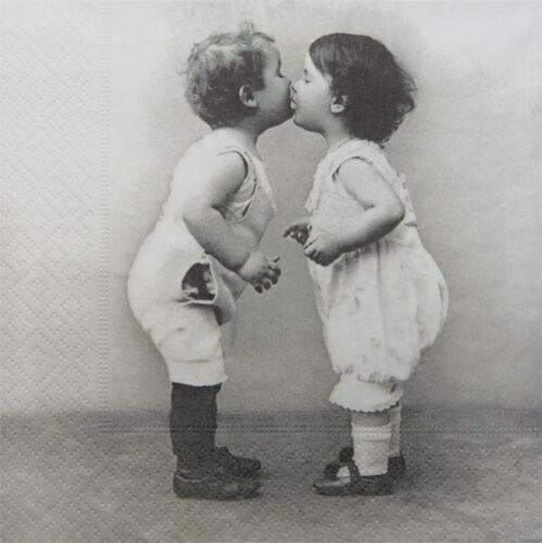 diseño Vintage pareja besos 193 4 Solo Papel Decoupage Servilletas