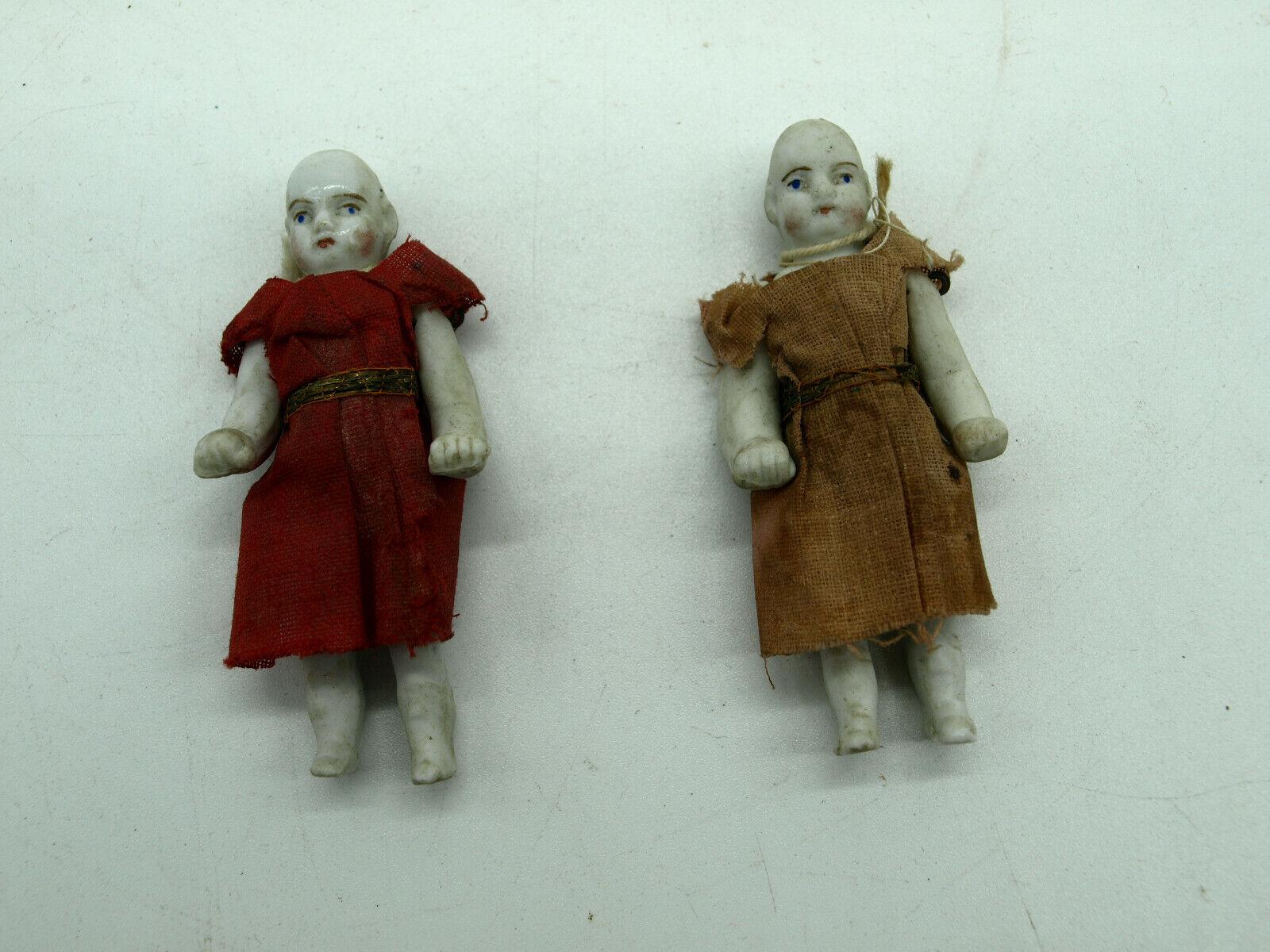 2 RARE Antique German Victorian Dollhouse Dolls Porcelain Bisque Doll 3