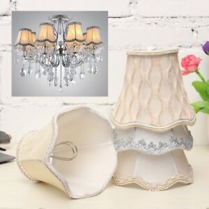 Vintage small lace lamp shades textured fabric ceiling chandelier image is loading vintage small lace lamp shades textured fabric ceiling aloadofball Image collections