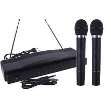 Wireless Microphone System Dual Handheld + 2 x Mic Cordless Sound Receiver HOT