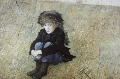Vintage Art Andrew Wyeth 1952 Faraway Little Boy Racoon Hat Runaway Alone Boots