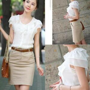 Women-Office-Ladies-Summer-Chiffon-Short-Sleeve-Casual-Shirt-Tops-Blouse-T-Shirt