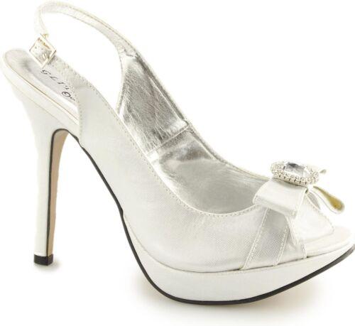 Glitz Ladies Womens Slingback Diamante Bow Buckle Peep Toe Stiletto Heels Silver