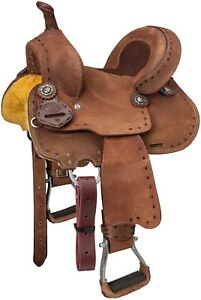 Branson Buchstitched 10 Inch Western Roughout Leather Barrel Saddle