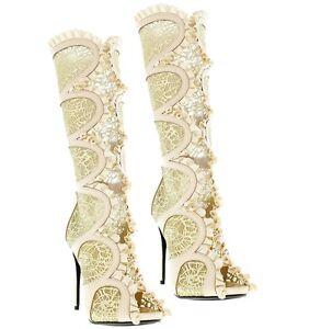 22a35d8b142 Cece Mid-calf Boots Peep toe Ruffled Mesh Heels Women s Bridal Shoes ...
