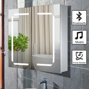 Bathroom Mirror Cabinet Bluetooth Shaver Socket Sensor Demister With