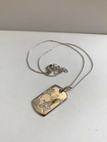 925 STERLING SILVER DOG TAG NECKLACE PENDANT W// ENGRAVED STAR /& LAB DIAMONDS