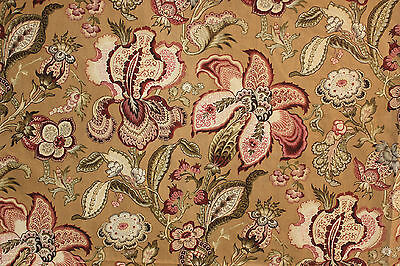 Antique French block printed Indienne STUNNING floral fabric c1870 upholstery