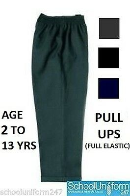 Boys School Uniform Full Elastic Waist Easy Pull Up Trouser 2 to 16 Years