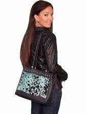 Scully Western Womens Handbag Hair On Calf Magnetic Teal B102