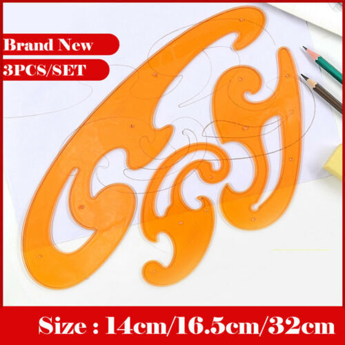 3x //set French Curve Template Ruler Stencil Drawing Drafting Designer Sewing