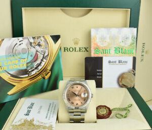 Rolex 36mm White Gold & SS Turn-O-Graph Thunderbird Rose Roman 16264 SANT BLANC