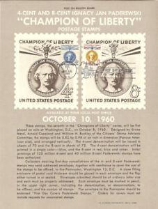 1159-60-4c-amp-8c-Paderewski-Stamp-Poster-Unofficial-Souvenir-Page-Flat-HC-Scarce