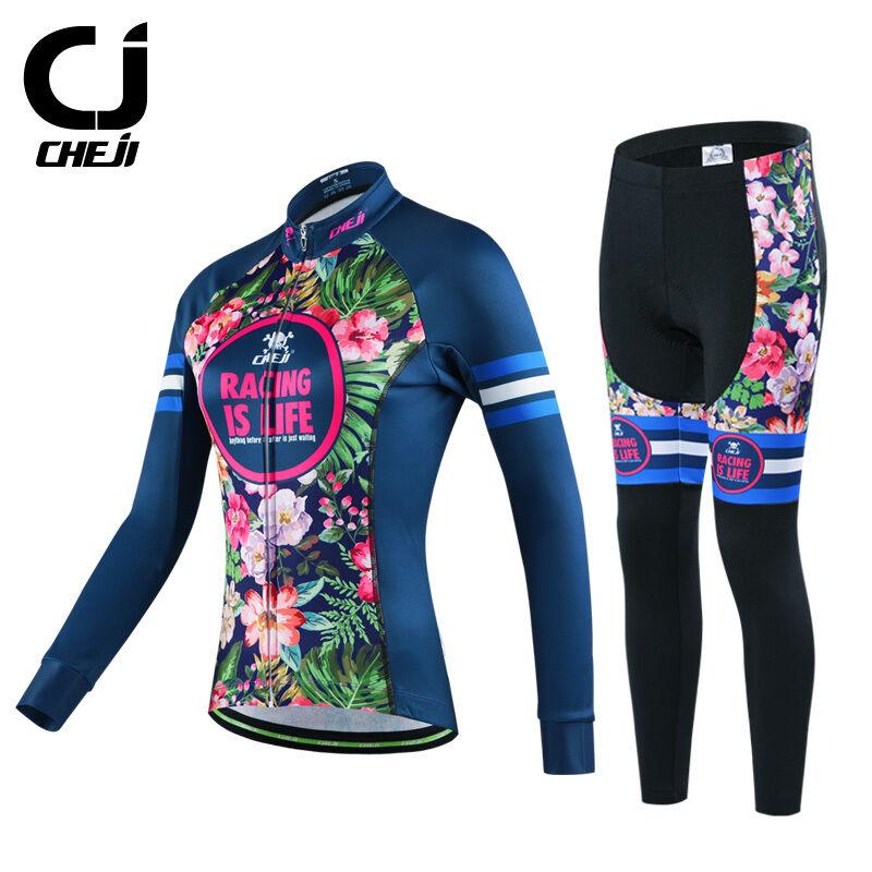 Cheji Mujer Retro Térmico Invierno Ciclismo Camiseta Pantalones Set Kit  De Ciclismo Polar  Los mejores precios y los estilos más frescos.