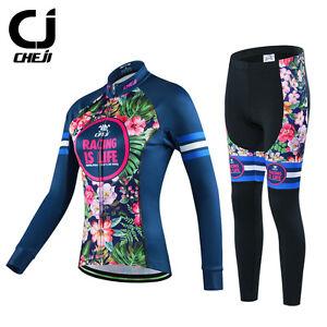 CHEJI Women s Retro Thermal Winter Cycling Jersey Pants Set Fleece ... b76739985