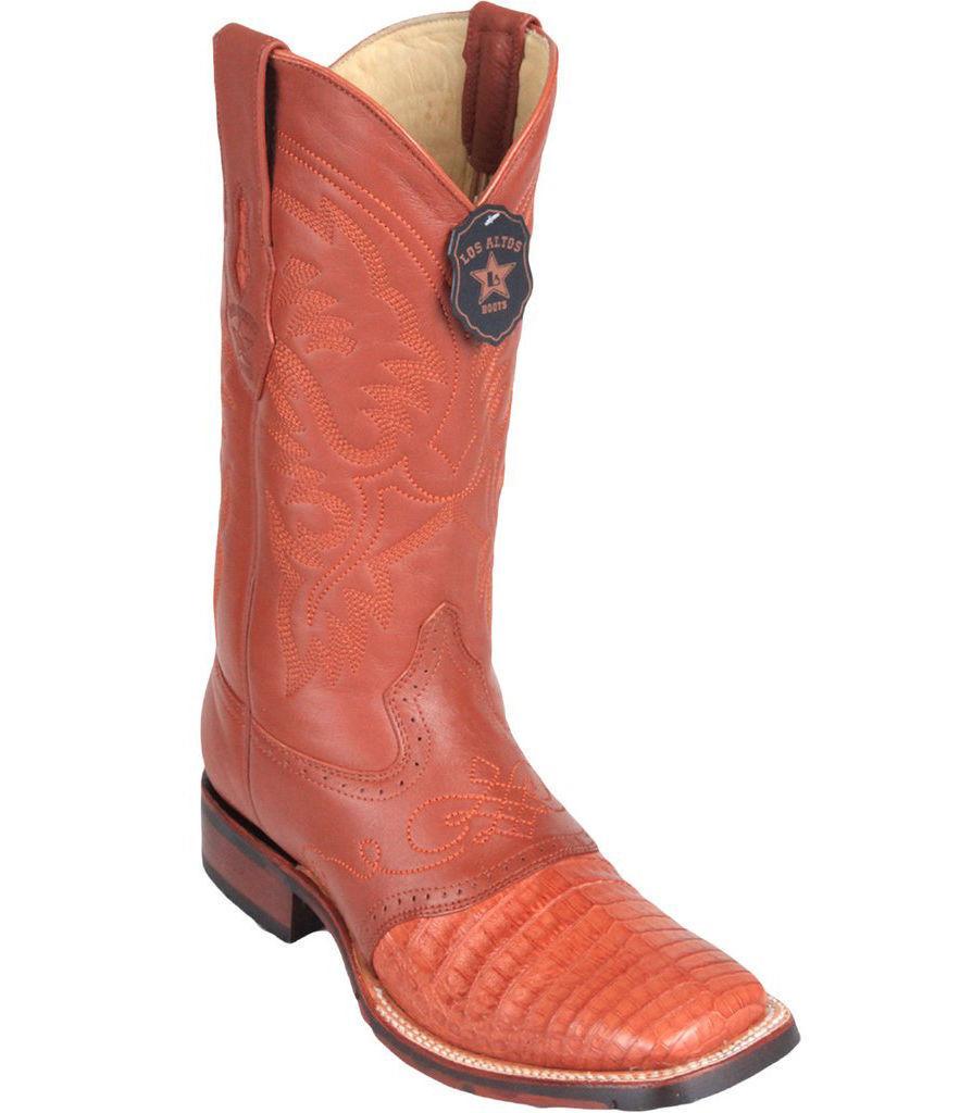Los Altos COGNAC Caiman Crocodile Square Toe TPU Rubber Sole Western Boot EE+