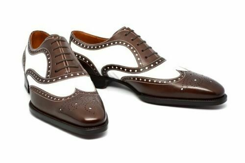 Mens Handmade shoes Classic Spectator Brown & White Formal Dress Casual Wear Boot