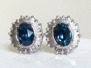 Vintage-1950-039-s-silver-tone-sapphire-blue-rhinestone-clip-on-Earrings-mid-century