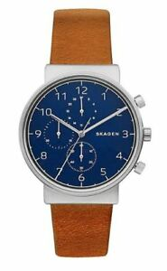 ad5799fee9f5e Skagen Men s Chronograph Ancher Brown Leather Strap Watch SKW6358 ...