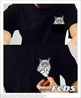 Grumpy Cat Middle Finger Salute Pocket 100% Cotton T-shirt Sm-5xl Big