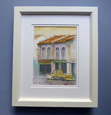 "Original Framed Watercolour ""The Temple Street Shophouses, Chinatown, Singapore"