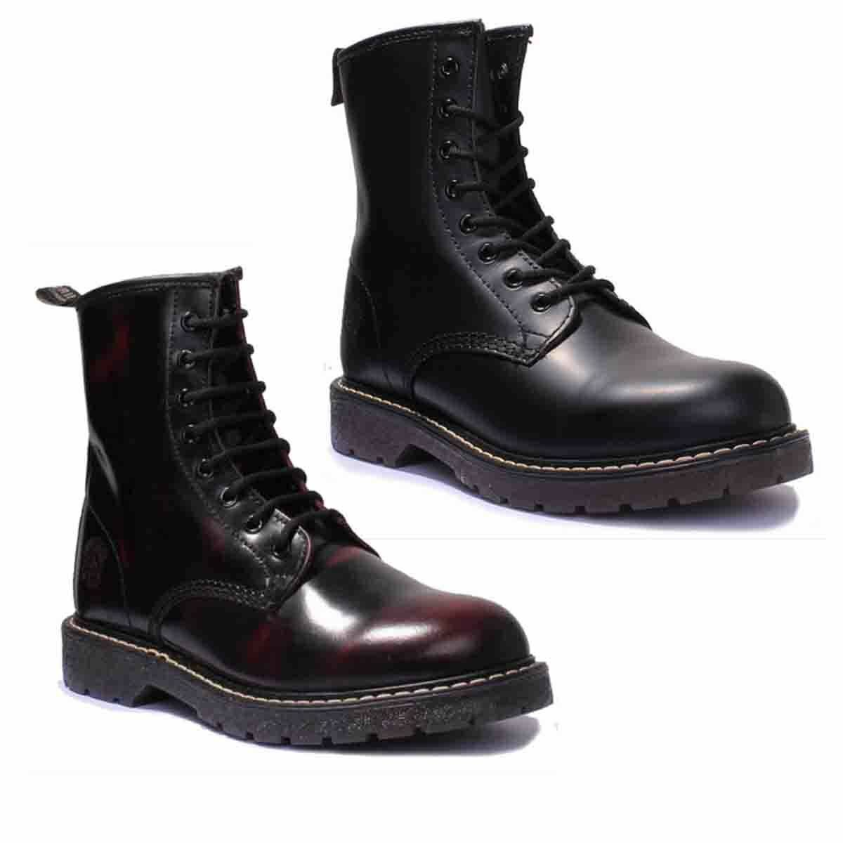 Grinders Cedric Unisex Leather Matt Burgundy Rub Off Ankle Boots