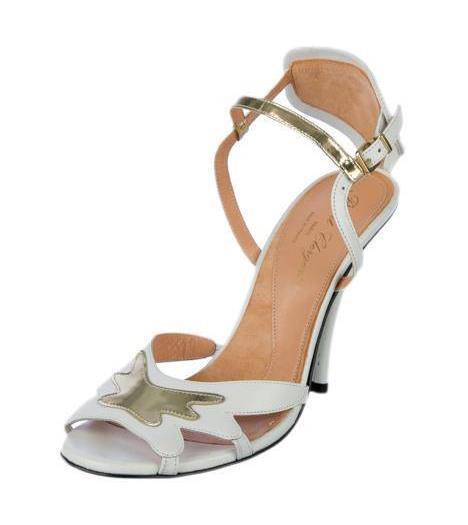 ROBERT CLERGERIE kvinnor vit guld läder High -Heel Sandal Pump Pump Pump 9 -39 ny  global distribution