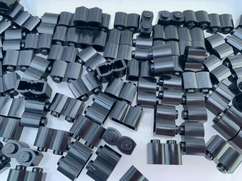 NEW Black 1x2 Log Double Curved Brick 15 Pieces Per Order LEGO 30136