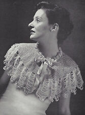 Vintage Knitting PATTERN to Make Shoulder Shawl Capelet Prom Evening Wrap
