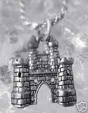 4 Castle Charms Antiqued Silver Fairy Tale Pendants Medieval 21mm Haunted