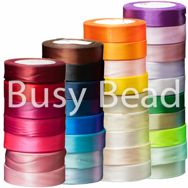 Busy Bead Single Sided Satin Ribbon in 22m Spools - 30 Colours & Choice of Width