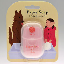 [CHARLEY SOAP] Rose Scented Travel Size Pocket Paper Soap 50 Sheets NEW