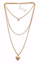 Precioso tres Strand Collar De Oro W corazón, diamante & Leaf Colgantes (zx55)